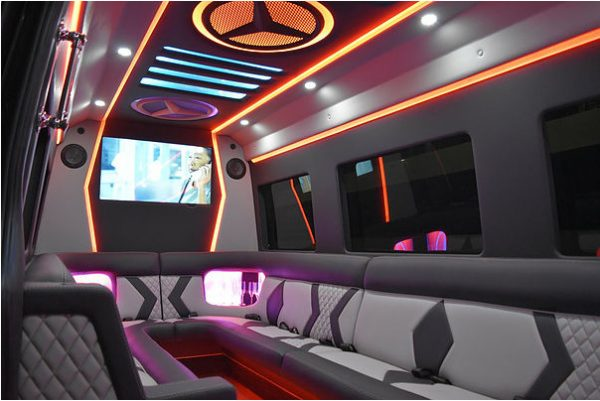 Interior 16 Passenger Mercedes Sprinter Party Bus