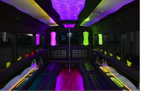 YOLO 25 passenger party bus interior