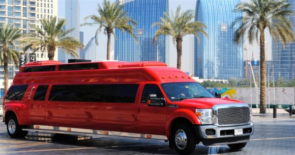 Big red party limo 30 passenger