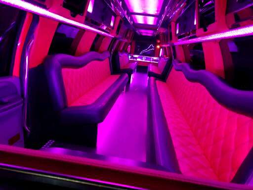 Big red party limo interior