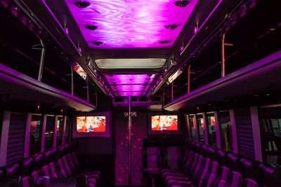 Interior shot of BIG TIME 40 passenger party bus in Las Vegas